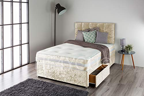 Home Furnishings UK Crushed Velvet Divan Bed Set with a 3D Bordered Memory Sprung Mattress and Matching Buttoned Headboard (2 Drawers) (3FT Single, Cream)