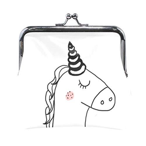 ZZAEO Monedero de Unicornio para Mujeres y niñas, Monedero con Hebilla de Bloqueo de Beso, Lindo Monedero, Porta Monedas Retro, Monedero pequeño, Tarjetero