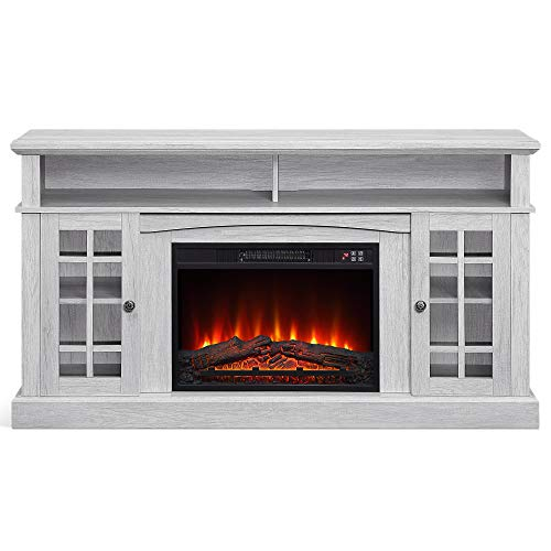 """BELLEZE 014-HG-41830-HT-SOK Fireplace Stand with Remote Control Console Media Shelves for TVs up to 65"""", Sargent Oak"""