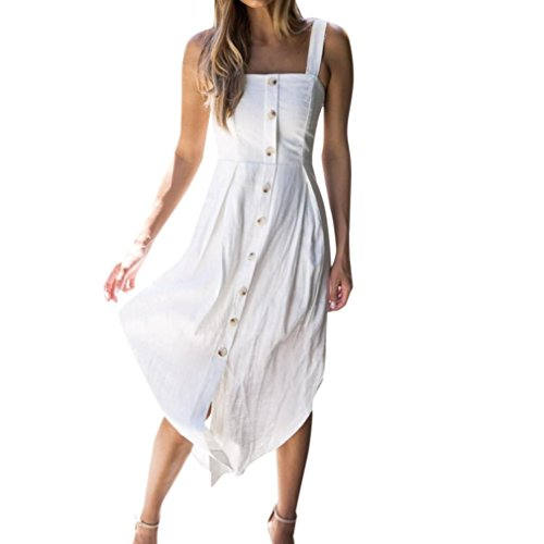 Ansenesna Kleid Damen Sommer Lang Mit Schlitz Asymmetrisch Abendkleid Ärmellos Rückenfrei Carmen Ausschnitt Für Party Strand (M, Weiss)