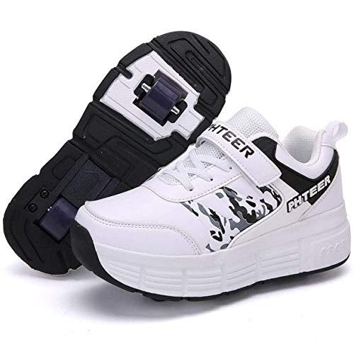Zapatos Con Ruedas, Patines En Línea Calzado Deportivo Monopatín Zapatillas De Gimnasia Al Aire Libre Niños Niñas Patines De Ruedas Zapatos De Skate Ajustables Para Niños Adultos,Double Wheel-40 EU