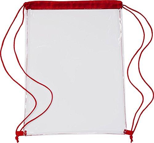 Transparenter Sport Rucksack Premium Turnbeutel mit Kordelzug auch als Schulrucksack und für Festivals durchsichtig in 5 Farben (Rot)