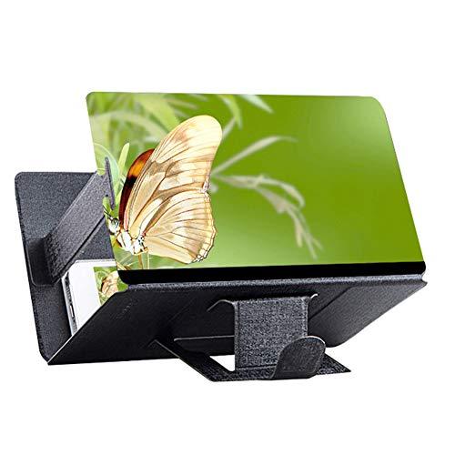 PeriwinkLuQ - Lupa esterioscópica para pantalla de teléfono móvil 3D, amplificadora de 8 pulgadas, soporte de escritorio de piel sintética, plegable, soporte de vídeo HD para todos los smartphones