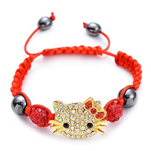 Pulsera Brazalete, Joyeria Regalo, Handmade Cute Children Silver Cat Bracelet For Kids Girls Boys Crystal Beads Connected Braid Charm Bracelets Jewelry Gold Red