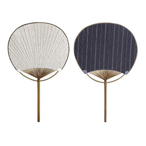 anaan 'Uchiwa' Abanicos de Mano Japones bambú Round 2 Piezas Ventilador de Mano Decoración de Boda o Fiesta Diseño