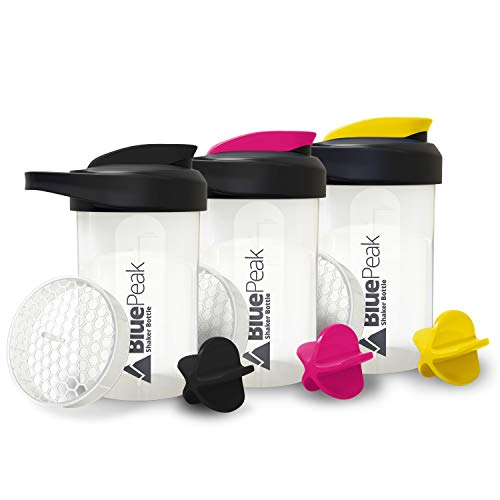 BluePeak Protein Shaker Bottle 20-Ounce, 3-Pack, with Dual Mixing Technology. BPA Free, Shaker Balls & Mixing Grids Included (Black, Yellow & Pink)