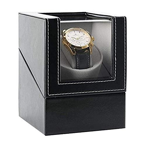 XXSHN Bobinadoras de Relojes Caja automática de bobinadoras de Relojes para 1 Reloj de Pulsera Relojes de Cuero Impermeables Caja de bobinado Rotación Ultra silenciosa Giros por día Negro