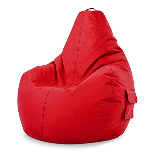 Green Bean © Cozy Beanbag, Gaming Sitzsack Sessel 80x70x90 cm, 230 Liter EPS Perlen Füllung, Indoor Gamingstuhl & Outdoor Gamer Sitzkissen, Bean Bag Lounge Chair für Kinder & Erwachsene, Rot