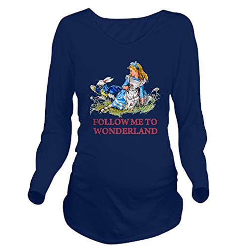 CafePress Alice_Blue_Follow ME Long Sleeve Maternity T Shirt Long Sleeve Maternity T-Shirt, Cute and Funny Pregnancy Tee