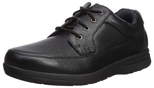 Nunn Bush Men's Cam Moc Toe Casual Lace-Up with Comfort Gel and Memory Foam, Black Tumbled, 11