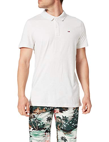 Tommy Jeans Tjm Essential Jersey Polo, Bianco Htr, M Uomo