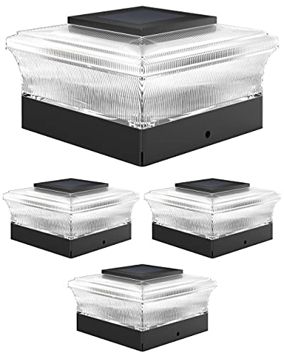 Davinci Lighting Cubed Solar Outdoor Post Cap Lights - 4x4 5x5 6x6 - Bright LED Light for Fence Deck Garden or Patio Posts (4 Pack)