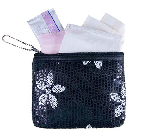 Menstruation Kit - First Period Kit to-go! (Period Starter Kit with Organic & Biodegradable Pads) (Black)