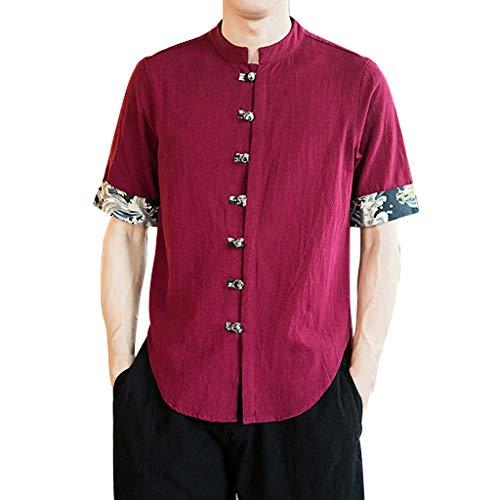 Amphia - Herren Leinenshirt,Herren Vintage Baggy Baumwolle Leinen Feste halbe Ärmel Retro T Shirts Tops Bluse