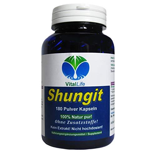 Shungit PREMIUM Edel Schungit 180 Pulver Kapseln Antioxidantien Selbstheilung Immunsystem Abwehrkräfte NATUR pur OHNE Zusatzstoffe. 26327