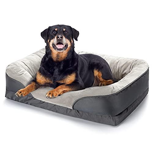 Cama para perro, ortopédica grande (91x68 cm) para mascotas de espuma con memoria con funda lavable extraíble y juguete trepante como regalo