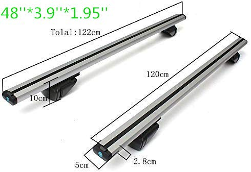 Facaimo 48' Aluminum Car Top Luggage Roof Rack Cross Bar Carrier Adjustable Window Frame