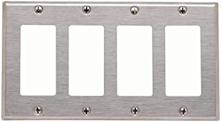 Leviton 84412-40 4-Gang Decora/GFCI Device Decora Wallplate, 302 Stainless Steel, Device Mount, Stainless Steel