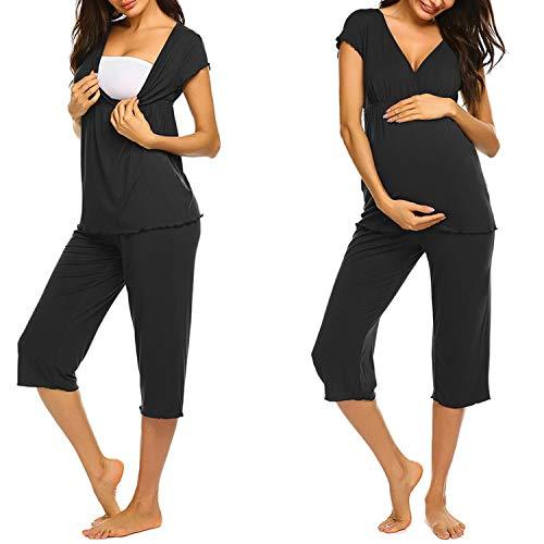 Unibelle Stillpyjama-Umstandspyjama-Schlafanzug Umstandspyjamas Stillshirt und Hose kurz Sommer Lagendesign Wickeln-Schicht Schwarz S