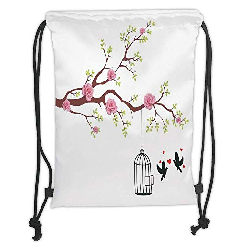 FFLISHD Gym Bag Printed Drawstring Sack Backpacks Bags,Flying Birds Decor,Blossomed Roses and Flying Love Birds with Hearts and Cage Couple Decorative,Pink Brown White Soft Satin
