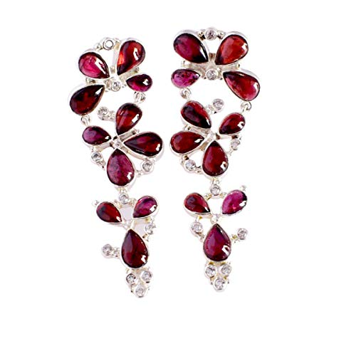 Garnet Gemstone 925 Solid Sterling Silver,Gold Plated Stud Earrings Excellent Quality Handmade Jewelry,For Girls FSJ-5310