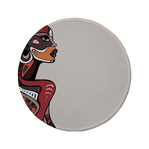 """Rutschfreies Gummi-rundes Mauspad Afro-Dekor Profil des afrikanischen Schönheitstotems Ethno-Mode-Mädchen mit Maskentattoos Illustration Multi 7.9\""""x7.9\""""x3MM"""