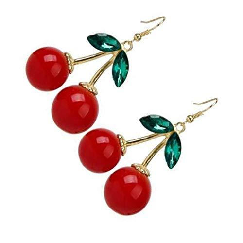 rongweiwang 1 Pair Cherry Earring Party earring alloy earring cherry Birthday Women Dangling Earring with Ear Hook Girl Alloy Ear Jewelry