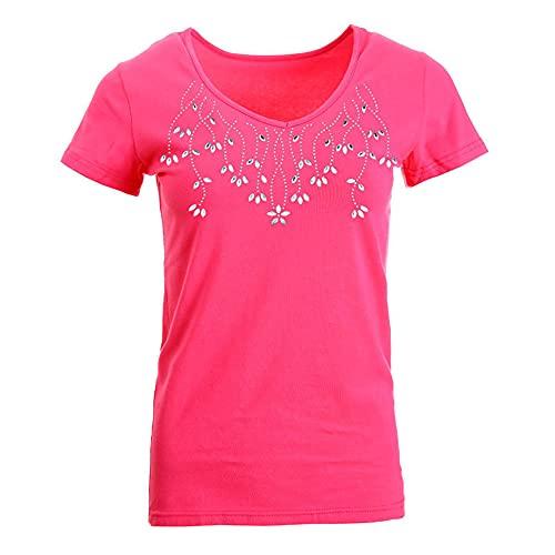 Tops Mujer Verano Comodidad Impresión Generosa Mujer Camisa Diseño Elegante Exquisito Movimiento De Trabajo Diario Viajes Vacaciones Conciso Mujer Blusa D-Red S