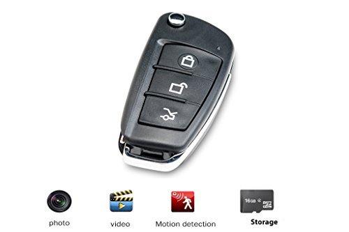 JC coche Llavero Espía cámara día y noche 1080p HD-oculta grabadora de vídeo digital y mini Spy cámara, incluye tarjeta SD de 16GB Mando de coche DVR