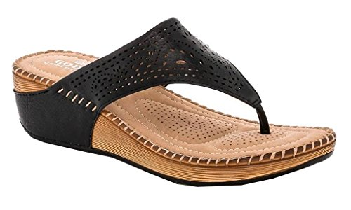 Lady Godiva Allison Women's Comfort Wedge Slide Thong Sandals Black