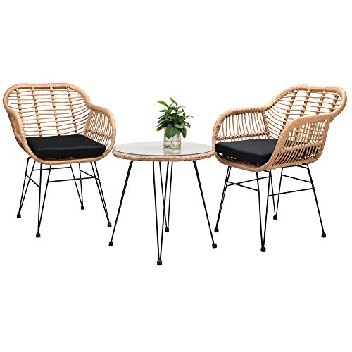 Casaria 3 Pieces Patio Balcony Bistro Set Lounge Outdoor Table Chairs Garden Furniture Wicker Cushion Glass Plate