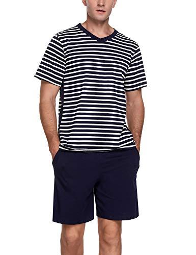 Akalnny Herren Schlafanzug Kurz Pyjama Set Baumwolle Shorty Sommer Nachtwäsche für Männer Balu Weiß M