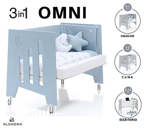 ALONDRA - Cuna bebé de COLECHO (3en1) OMNI Celeste 120x60 convertible en 3 etapas: cuna, colecho y escritorio, con 5 alturas de somier y ruedas C181-M7751, pack OMNI-K10