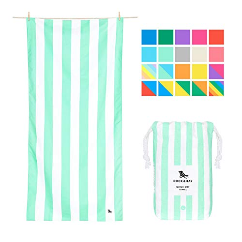 Dock & Bay Sand Proof Beach Towels Portable - Narabeen Green, Extra Large (200x90cm, 78x35) - Mint Green Striped Design Travel Towel