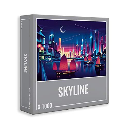 Cloudberries Skyline - Rompecabezas de 1000 Piezas con Vistas de la Ciudad para Adultos con Colores neón Frescos y un desafiante diseño Degradado