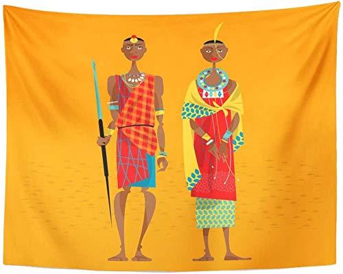 Tapiz de pareja masai africana en personas tradicionales tapices de tribus para colgar en la pared para sala de estar dormitorio 150x200cm