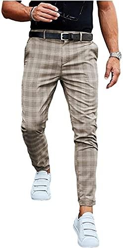 LIUPING Pantalones Casuales Moda Midweight Men's Business Slim Fit Plaid Imprimir Pantalones Largos Pantalones (Color : Khaki, Size : Medium)