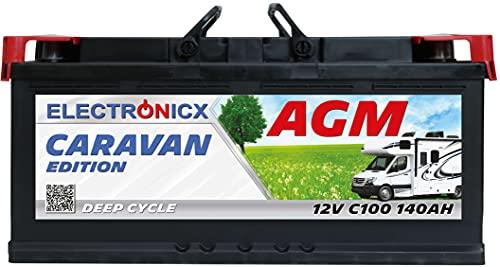 AGM Batterie 12v 140Ah Electronicx Caravan V2 Edition Solarbatterie 12v akku 12v Solar Batterien Versorgungsbatterie 12v Wohnwagen Batterie Wohnmobil Solar Akku Bootsbatterie Mover Batterie 140 Ah