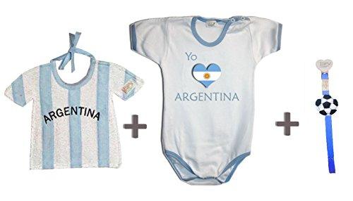 Zigozago - Set Mundial Argentina compuesto por babero + body talla 0 meses + portabolés.