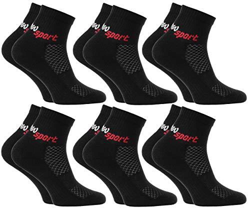 Rainbow Socks - Niñas y Niños Calcetines de Deporte Neon - 6 Pares - Negro - Talla 30-35