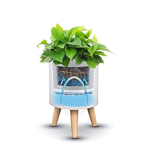 Abizoe Maceta Inteligente, Macetas de Planta de Riego Automático con Sistema de Riego y Drenaje, Alarma de Escasez de Agua, Macetas para Flores y Plantas Exterior y Interior (Blanco)
