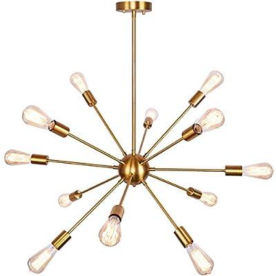 bgLight 12 Lights Sputnik Chandeliers Mid Century Semi Flush Mount Ceiling Light Modren Hanging Lighting Fixture for Dining Room Kitchen Island Living Room Bedroom, Gold
