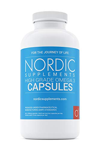 Nordic Supplements High Strength Pharmaceutical Grade Omega 3 Fish Oil Capsules, 1000 mg, Pot of 365 Capsules