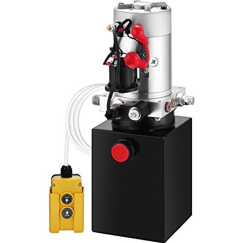 VEVOR Bomba Hidráulica con Simple Efecto 4L, para Remolque de Coches, Depósito de Metal, Bomba Hidráulica Remolque Tanque 12V, Bomba Hidráulica con Efecto Simple para Remolque