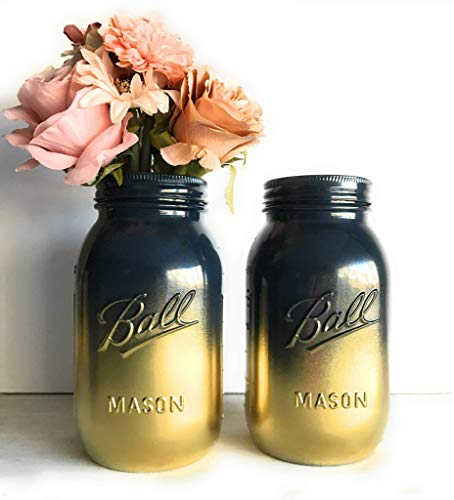 Set of 2 Navy Blue and Gold Painted Mason Jars