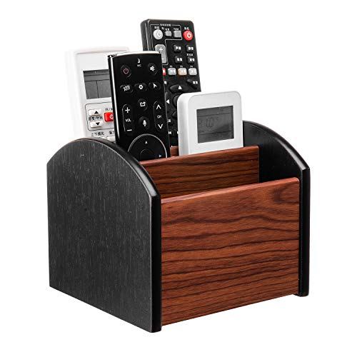 Liry Products Revolving Wooden Desk Organizer 4 Compartment Remote Control Holder Brown Black Spinning Office Supplies Caddy Tabletop Storage Desktop Rotating Stationery Accessory Sorter Home