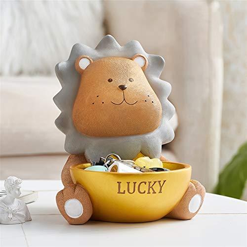 47-B Caja de almacenamiento de escritorio, linda caja de almacenamiento de león, decoración para zapatos de escritorio con llave piruta (color marrón