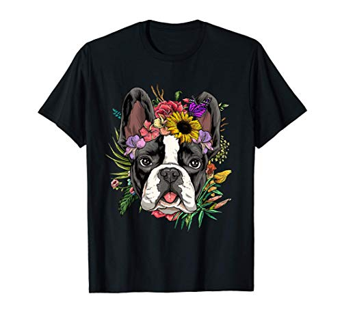 Floral French Bulldog Dog Spring Nature Dog Lovers T-Shirt