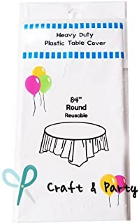 (12-Pack) Heavy Duty Plastic Table Covers Tablecloth (Reusable) (Round 84