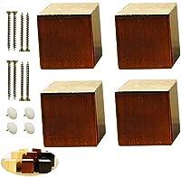 GAXQFEI 4倍の固体木製の家具の足、正方形のソファーの足、交換の足、机の足、家具の上昇のライザー、ベッドの床に高さを追加し、取り付けアクセサリー(木のカラー12Cm / 4.7In),クルミ,5Cm/2In